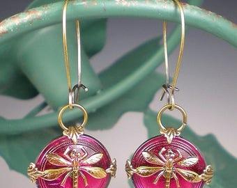 SUMMER SALE Dragonfly Earrings Raspberry Pink Czech Glass Buttons Oxidized Brass Dragon Fly Jewelry