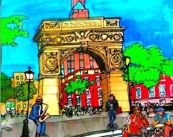 Print on Canvas Washington Square Park Arch Greenwich Village, NYC, PJ Cobbs Arts Giclee, Art, Summer, NYU, Downtown