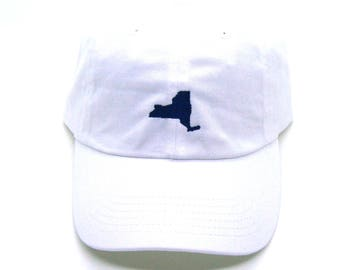 New York Hat - Classic Dad Hat - Navy on White - All States Available