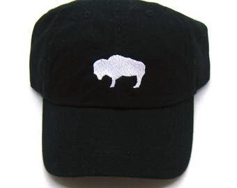 Low Profile Full Coverage Dad Hat - white on black buffalo hat