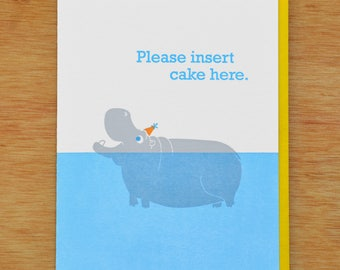 Hippo Wants Birthday Cake - Letterpress Card