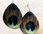 Peacock Earrings / Peacock Feather Earrings / Peacock Jewelry / Feather Earrings / Bird Feather Earrings / Metal Earrings / Good Luck