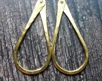 Brushed Bright Brass Hammered Teardrop Hoop Findings - 1 pair - 30mm