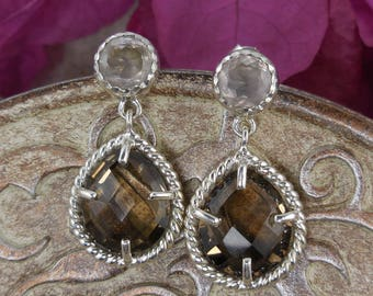 Smoky & white topaz sterling silver earrings