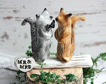 Squirrel Cake Topper-Clay Squirrels -Wedding cake topper Squirrels-Mr and Mrs cake topper - Mr and Mr cake topper - Mrs and Mrs cake topper