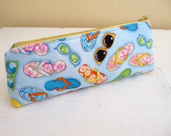 Long Zippered Pouch, Pencil Case, Sunglasses Case, Summer Beach Flip Flops and Sunglasses, yellow zip