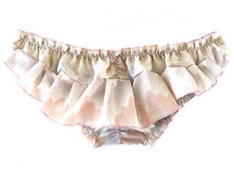 Barbarea Bloomer in Vintage Trippy Western Print/Upcycled Panties, Bloomers, Ruffle Underwear, Eco-Friendly Lingerie, Custom Underwear