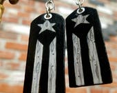 Puerto Rico Resistance Movement - hand-painted flag and fist earrings