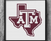 Texas A&M University College Cross Stitch Pattern Needlepoint Embroidery A  M Aggie Gig' Em Print Art Home Maroon Gift Howdy 12th Man