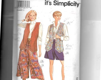 Simplicity Misses' Split Skirt In Two Lengths and Lined Vest Pattern 8059