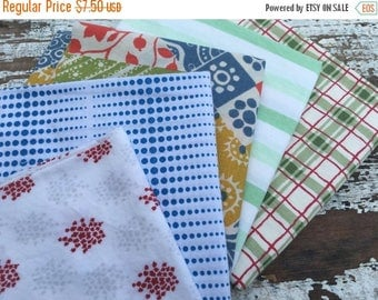 CRAZY SALE- Reclaimed Bed Linens Fat Quarter Bundle-Red White and Blue