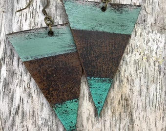 Painted Leather Earrings--Triangles-Boho Earrings-Mini Canvas-Blue
