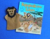 Lion Hand Puppet and Book Set / Felt Lion Puppet / Birthday Party Favor