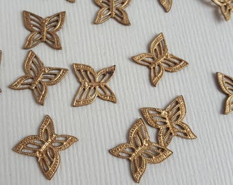 Vintage brass butterfly stampings