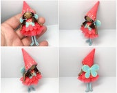 Fairy Bendy Doll, Waldorf Felt Bendable DollHouse Doll- Small Felt Doll, Flower Fairy,  Black Doll, African American, Brown Skintone
