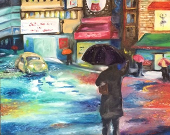 City Rain Oil Finger Painting
