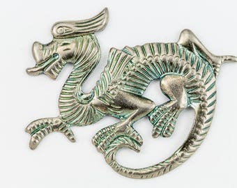 32mm Antique Silver Dragon #1157A