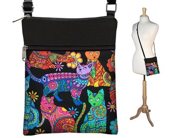 Small Cross Body Purse Colorful Cat Lover Gift Crossbody Bag Sling Shoulder Bag Purse  Hipster Travel Bag purple blue pink green orange  RTS
