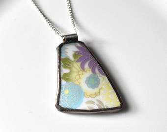 Broken China Jewelry Pendant - Blue Yellow Purple Modern Floral