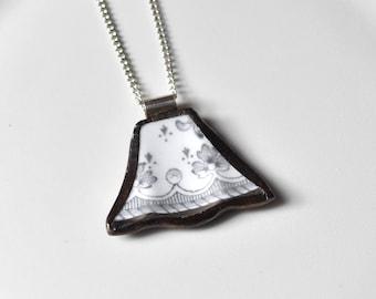 Broken China Jewelry Pendant - Grey and White