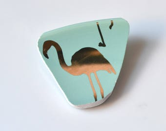 Broken China Jewelry BROOCH - Golden Teal Flamingo