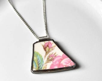 SUMMER SALE Broken China Jewelry Pendant - Pink Rose