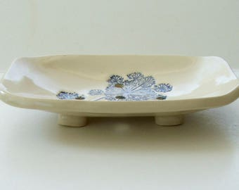 Ceramic Soap Dish, Handmade, Footed, Queen Anne's Lace