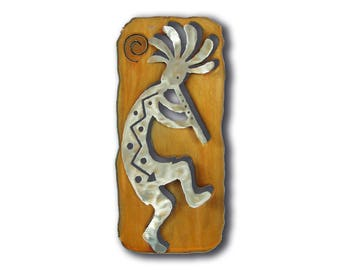 Kokopelli flute Cut Out Southwest Wall Art - Right Facing - Brown Rust and silver Finish