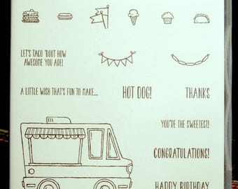 NEW!! Stampin' Up! Tasty Trucks retired photopolymer stamp set (16)