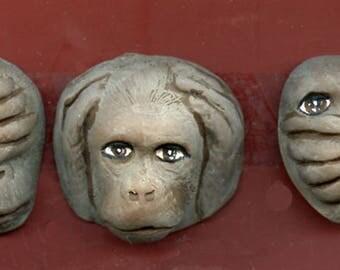 3 Monkeys in Gray  See Hear Speak No Evil Cabs   SHSM 2