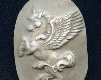 Faux Marble Polymer Clay Unicorn or Pegasus Cab Un drilled ANU 3