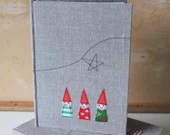 Three tomte buddies - bound notebook with appliqued linen cover no. 3 SALE