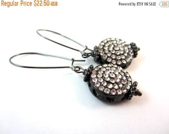 CIJ SALE Rhinestone Earrings. Gunmetal.  Holiday Jewelry. Under 25. Gifts for Her.
