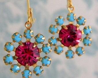 SALE Swarovski Fuschia Pink Turquoise Rhinestone Earrings