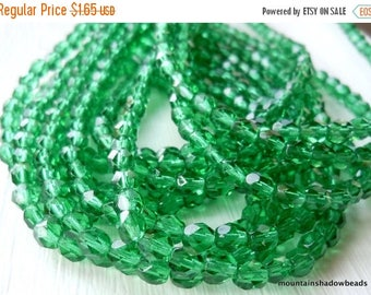 25% OFF Sale 4mm Czech Beads -  Emerald Faceted Round -  50pcs (G - 27)