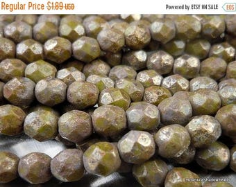 20% Summer SALE Czech Glass Bead 6mm Faceted Round Bead - Opaque Olive Stone Copper Picasso - 25 (G - 468)
