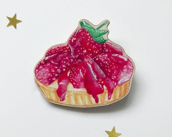 Pink Strawberry Tart Brooch Pin Badge