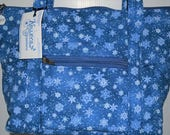Quilted Fabric Handbag Beautiful Snowflakes on Blue Background