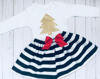 Sparkle gold christmas tree outfit... holiday wear... girls clothing-- black and white striped skirt
