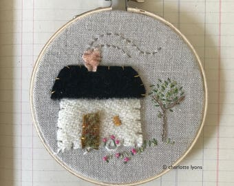 tiny house hoop art embroidery : english cottage