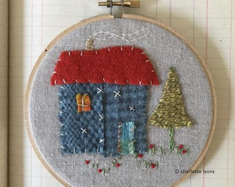 tiny house hoop art embroidery : blue cottage with red roof and pine
