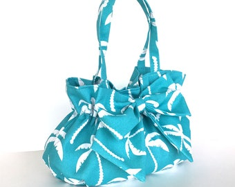 Bow purse, bow bag with palm tree pattern, turquoise bag, vegan bag, fabric handbag,summer fashion, casual day bag,gift for her,summer bag