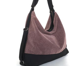 Faux suede convertible bag,Ultra suede shoulder bag, Hobo bag in eggplant,Vegan gift for her, Women backpack,Casual day bag,Weekend purse