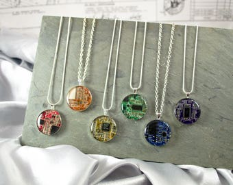 Circuit Board Necklace Gift Set, Set of 6 Necklaces, Rainbow Jewelry Set, Computer Necklace, Engineer Gift, Wearable Technology, Geek Chic