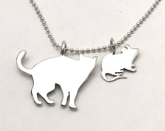 Cat & Mouse Pendants made from Vintage Silver US Half Dollar, Dime Coins