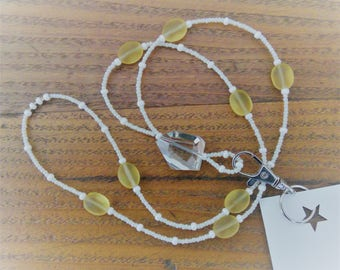 Crystal Clear Focal with Amber beads with white Beaded ID Badge Holder Lanyard Bead Necklace or for Glasses