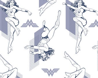 Wonder Woman Outline Pose in Navy White Licensed DC Camelot Fabric By The Yard