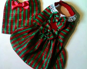Holiday Vest  Plaid Red And Green  For that Boy Dog or a Combo Dress and Vest!