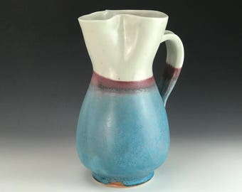 handmade pottery pitcher - turquoise and white pitcher - handmade jug - pottery jug - water jug -water pitcher -ceramic pitcher -ceramic jug