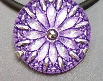 Sterling Silver and Lilac Flower Czech Vintage Glass Button  Pendant